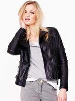 South Petite Leather Biker Jacket
