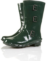 DUDLEY Olive Short Glossy Buckle Wellies