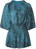 MATTHEW WILLIAMSON Teal Smocked Top with Feather Print